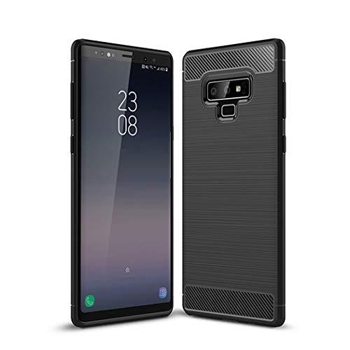Kit Me Out DE® Galaxy Note 9 Schutzhülle TPU-Gel Gebürstete Carbonfaser Hülle Rückseite - stoßfest & robust - für Sansung Galaxy Note 9 - Schwarz