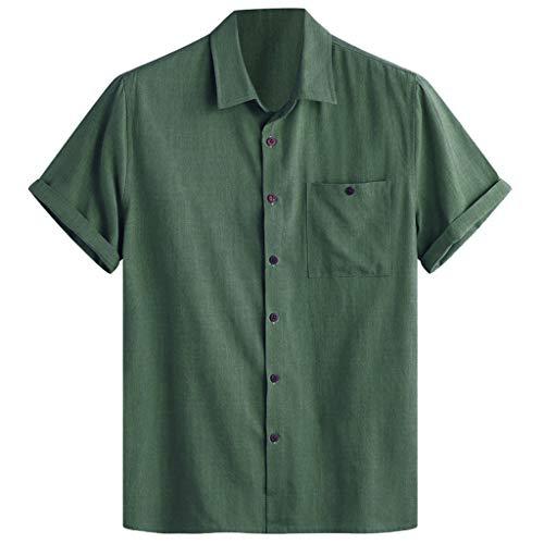 UINGKID Herren T-Shirt Kurzarm Slim fit Mens Cotton Solid Color Umlegekragen Brusttasche Lose Freizeithemden - Freie Performance-booster