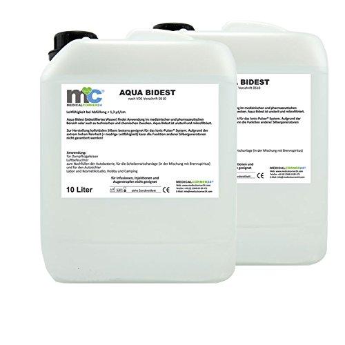 Aqua Bidest - 2x 10 Liter Kanister, Reinst-Wasser, Laborwasser 20 L, bidestiliertes Wasser, 2-fach destilliertes Wasser