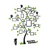 VORCOOL Adesivi albero con Cornici di foto Farfalle e Gatto da parete