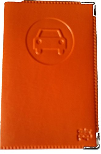 Porta documenti per auto completo, in simil pelle arancione