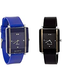 Exotica Watch With Small Dial | Combo Of 2 Watches | Black & Blue Colored Dial & Belt | Attractive | Casual |...