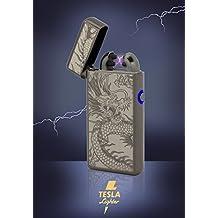 Tesla-Lighter T08 Lichtbogen Feuerzeug USB Feuerzeug Double-Arc Lighter elektronisches Feuerzeug wiederaufladbar Schwarz Drache
