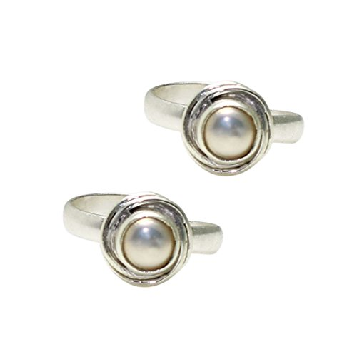 Frabjous Real Pearl German Silver Toe Ring for Women Eid Special Gift