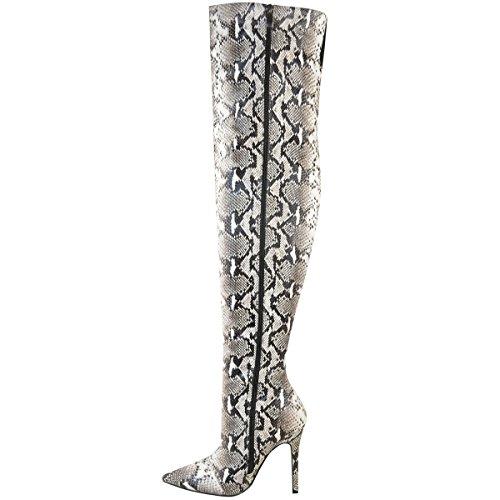 Bottes-cuissardes - talons aiguille/bout pointu - motif serpent - femme noir/imprimé serpent blanc