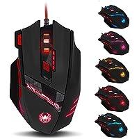 ZELOTES T90 Mouse da Gioco, ad Alta Precisione 9200 DPI Mouse Gaming con Design di 8 Pulsanti ,Cartucce di Peso…