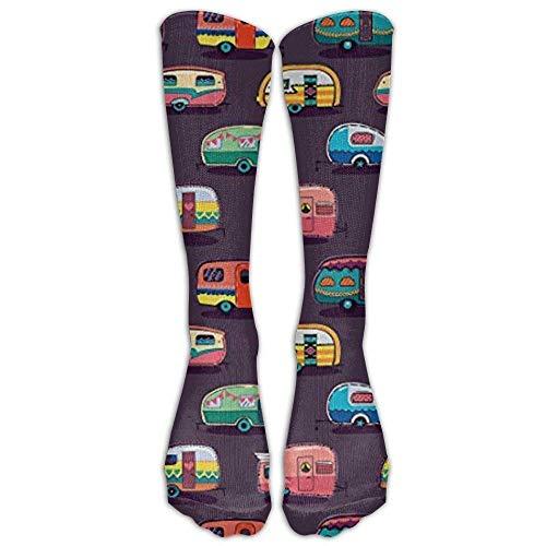 Hohe Socken Happy Camper by Penguinhouse Tube Socks for Women & Men - Graduated Athletic Fit for Running, Nurses, Flight Travel, Skiing & Maternity Pregnancy - Boost Stamina & Recovery (65CM)