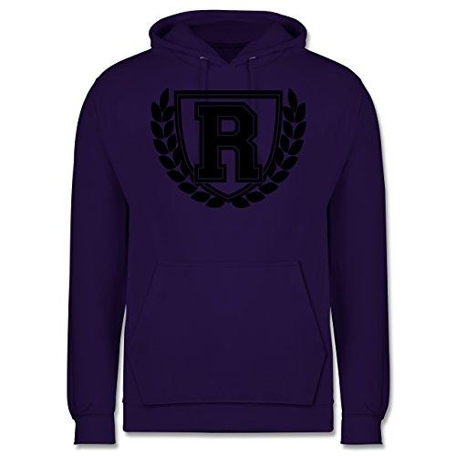 Anfangsbuchstaben R Collegestyle Männer Premium Kapuzenpullover / Hoodie  Lila