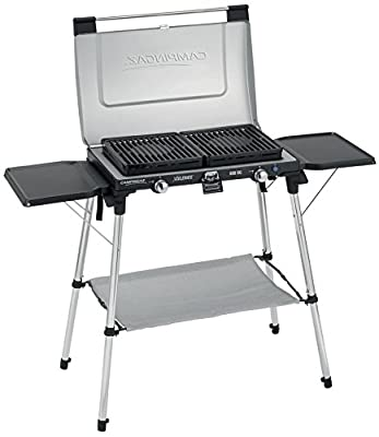 KOMPAKTER CAMPINGAZ - 2 - FLAMMIGER GASGRILL mit 2 abnehmbaren emaillierten Grillrosten - 50 mbar - VERTRIEB durch - Holly ® Produkte STABIELO ® - holly-sunshade ® - patentierte Innovationen im Bereich mobiler universeller Sonnenschutz - Made in Germany -