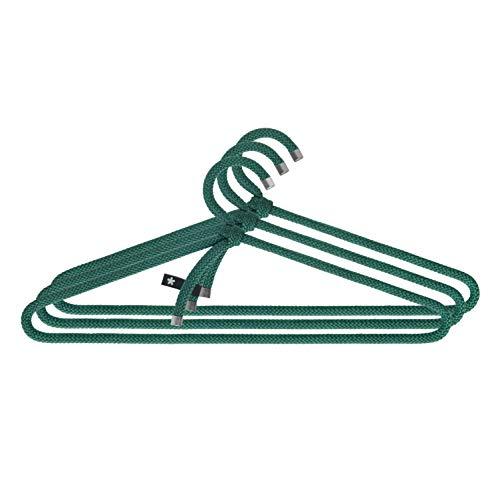 Peppermint Products Loop Hanger | 3er Textil-KLEIDERBÜGEL-Set aus Seil | Rutschfester Designer-Bügel f. Jacken, Hemden, Hosen | Design: Roman Luyken | Schrank- & Garderobenbügel (Grün)