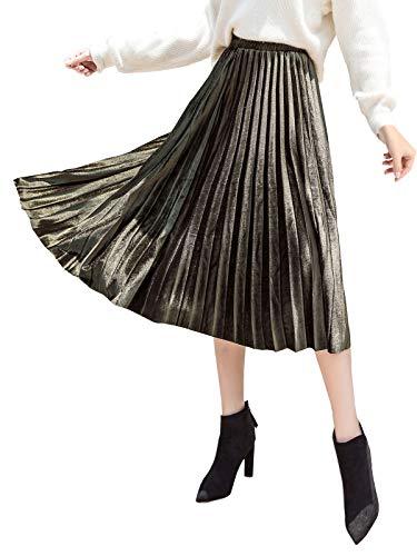 Damen Plissee Rock Midi Faltenrock Pleuche Velours Samt Elegant Damenrock Elastische Hohe Taille Rock für Herbst Winter - Einfarbig Armee Grün Größe XL (Samtrock)