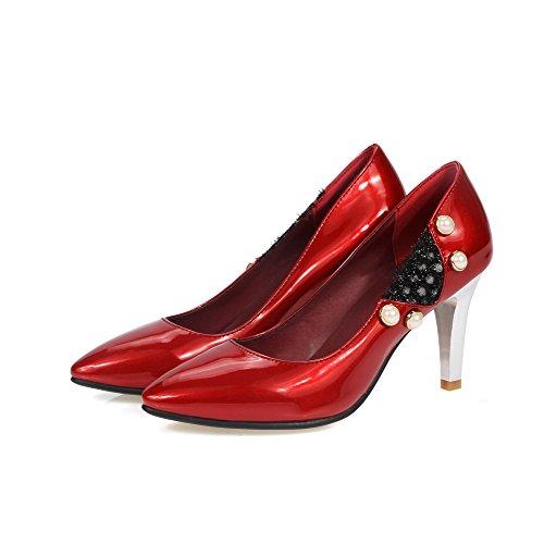 VogueZone009 Femme à Talon Haut Matière Souple Couleurs Mélangées Pointu Chaussures Légeres Rouge
