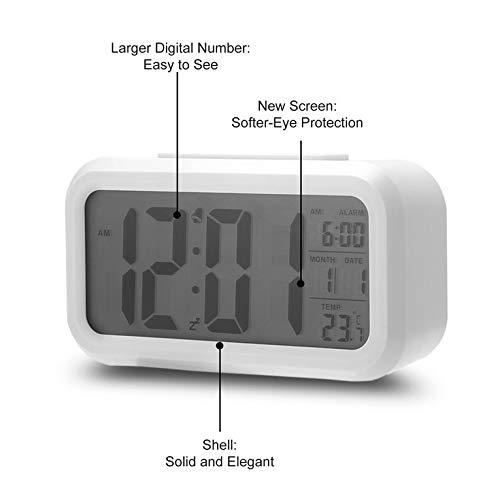 Peepheaven Despertador LED electrónico Digital Tiempo de retroiluminación con Calendario + termómetro