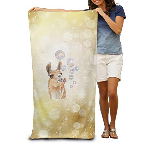VTXWL Qinf Llama Blow Bubbles Adult Beach Towels Fast/Quick Dry Machine Washable Lightweight Absorbent Plush Multipurpose Use for Swim,Beach,Camping,Yoga -