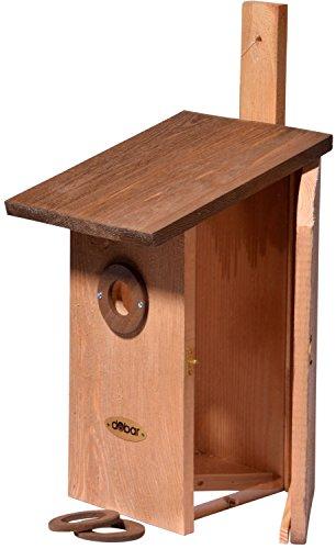 dobar 22415e Nistkasten für Vögel, aus Holz (Kiefer, Massivholz), für Garten, Balkon, Wand, 3 variable Einfluglöcher, mit Beobachtungsmöglichkeit, Farbe: Braun - Nisthilfe Vogelhaus