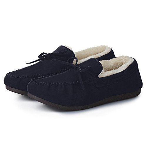 Summer Mae Donna Mocassino Classico Pantofole in Pelliccia Blu