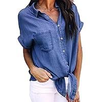 Women's Collar Button Down Denim Shirt Short Sleeve Tie Front Blouse Tops with Pockets Size L(US 6-8) (Dark Blue)