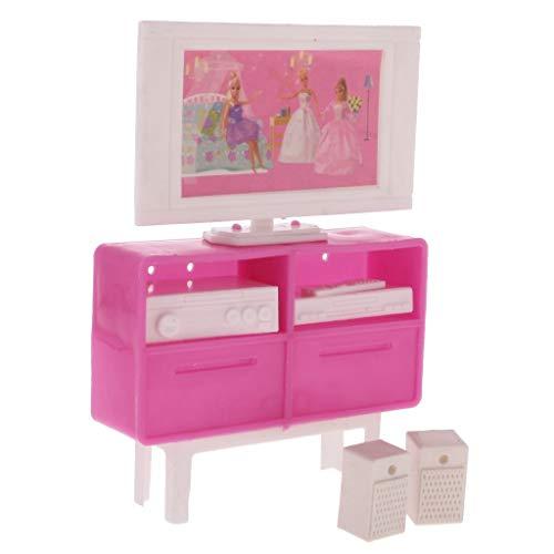 ouken TV Schrank Puppenstubenzubehör Wohnzimmer Mini-TV-Set Möbel DIY Spielzeug-Haus-Möbel-Set für Kinder Rosa Spiele Diy Tv