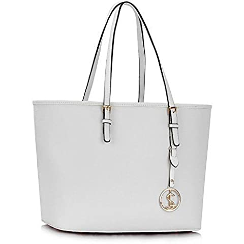 Womens Designer Bags Ladies Large Shopper Bag Faux Leather Shoulder Tote Bag (White Tote Bag)