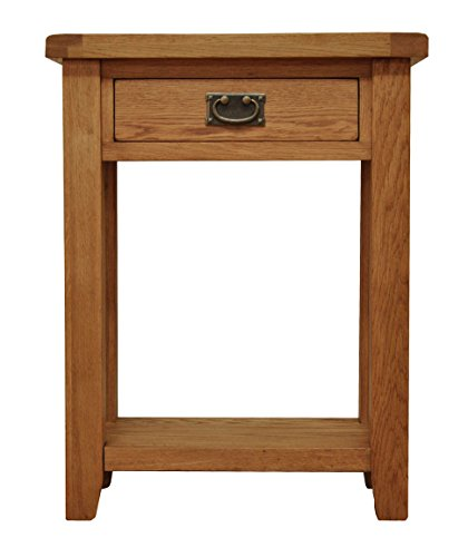 Buy buxton oak 1 drawer small console table in waxed oak for Small console table with shelf