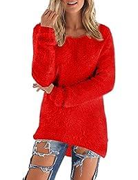 Minetom Mujer Invierno Moda Mullido Suéter Mangas Larga Cuello Redondo Tops Irregular Dobladillo Jerséis Pullover