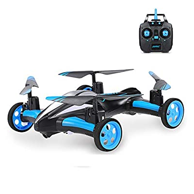 DUCKTOYS RC drone, land/sky 2-in-1 aircraft 6-axis gyroscope one-button returning pattern 360° tumbling remote-controlled aircraft quadcopter toy,for beginners