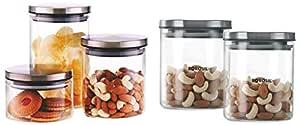 Borosil Classic Glass Jar for Kitchen Storage, Set of 2, (600ml + 600ml) & Classic Glass Jar for Kitchen Storage, Set of 3, (300ml + 600ml + 900ml) Combo