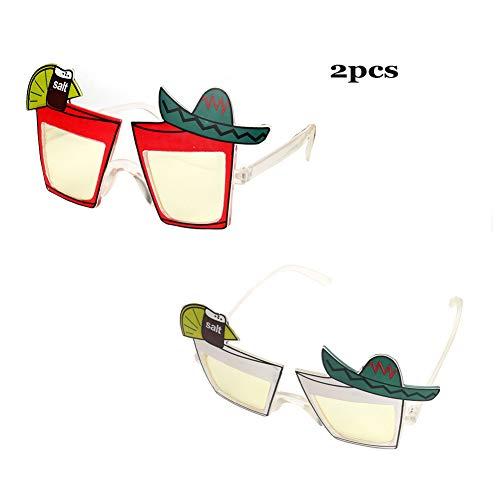 2 Paar Neuheit Party Sonnenbrillen Kreative Lustige BrillenTropische Sonnenbrillen für Party, Kostümparty, Themenbrillen für Kinder & Erwachsene