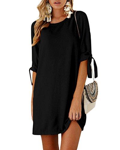 YOINS Sommerkleid Damen Tshirt Kleid Rundhals Kurzarm Minikleid Kleider Langes Shirt Lose Tunika mit Bowknot Ärmeln Aktualisierung-Schwarz EU48