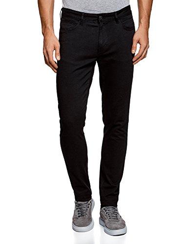 Oodji ultra uomo pantaloni in cotone slim fit, nero, it 50 / eu 46 (l)