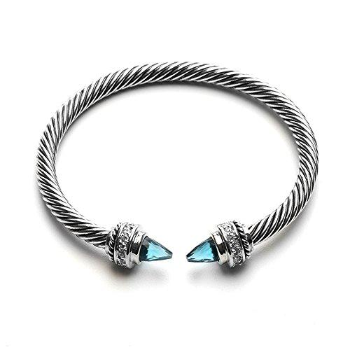 Damen Schmuck Designer-Look silberfarbenes Kabel Manschette Armband mit Blau und Klar Zirkonia (Asking Alexandria-armband)