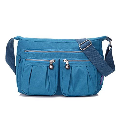 MeCooler Umhängetasche Damen Kuriertasche Leichter Messenger Bag Wasserdicht Taschen Designer Schultertasche Mode Sporttasche für Reisetasche Blau 2