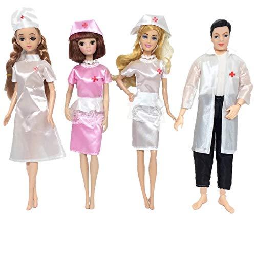 XinYang 6 Stück Barbie Kleider ärztin Kleidung für Barbie Puppen Ken Barbie