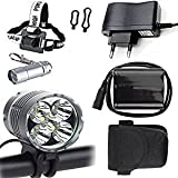 Wiifire Scheinwerfer 5X Cree XM-L U2 7000 Lumen Fahrradbeleuchtung Stirnlampe Frontlichter Taschenlampe mit 8.4V 8800mAh Akku Ladegerät +Stirnband für Kopflampe & LED Mini Taschenlampe