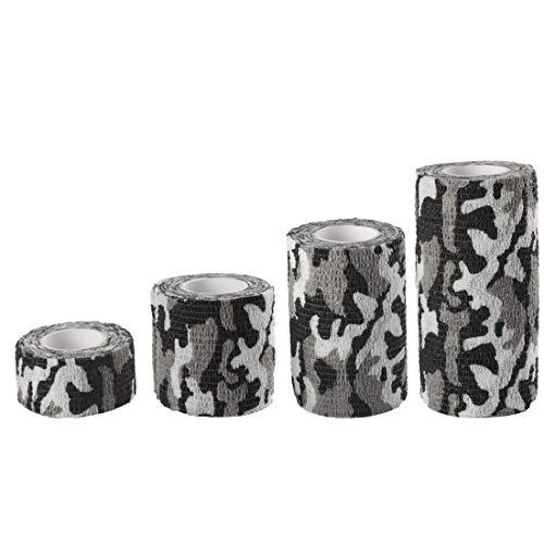 Andux Zone Selbstklebende Bandage 4 Rollen Cohesive Wrap-Verband ZZTXBD-04 (Schwarz Weiß Tarnung) (Pet-wrap)