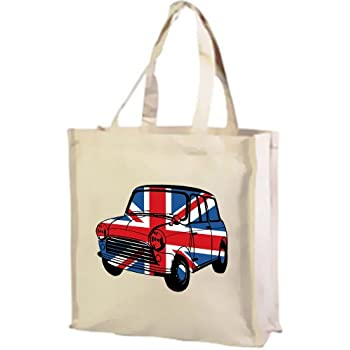 Best of British, Mini Car Union Jack Cotton shopping bag cream