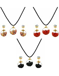Jewels Galaxy Combo Of Multicolor Pendant Set & Double Sided Glass Earrings For Girls And Women