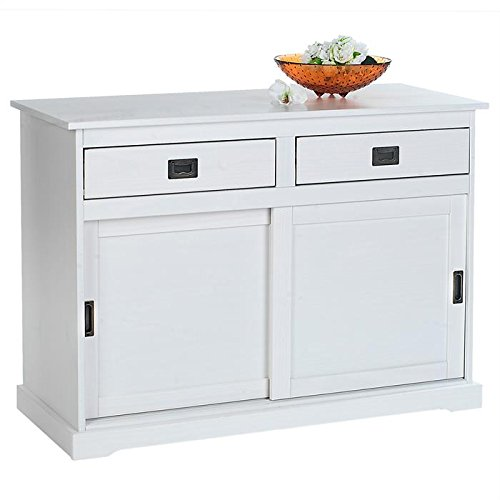 IDIMEX Buffet Savona bahut vaisselier Commode 2 tiroirs 2 Portes coulissantes, en pin Massif lasuré Blanc