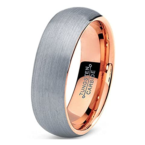 Tungsten Wedding Band Ring 7mm for Men Women Comfort Fit 18K Rose Gold Plated Domed Brushed Lifetime Guarantee Size S 1/2
