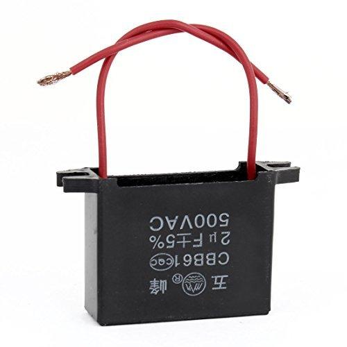 Schwarz Electric Fan (CBB61 2 Red Draht Electric Fan Kondensator Schwarz 2UF AC500V)