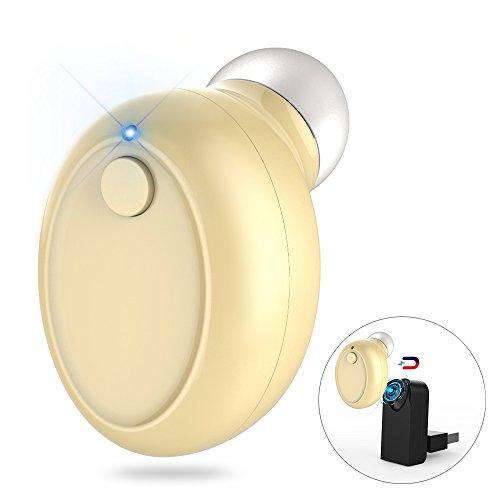 Mini Auricular Bluetooth 4.1, Invisible Mini Auricular Inalámbrico con Microfono y Cancelación de Ruido, In Ear Auriculares Inductivo Magnético Cargador, para iPhone y Android Smartphones, 1pc