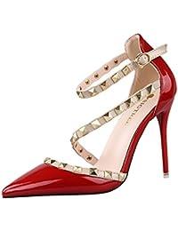 Minetom Scarpe Col Tacco Estate Donna Court Party Shoes Rotazione Rivetti  Punta Aguzza Bocca Superficiale Sottile Tacchi Alti Pompa… 57dd98d67db
