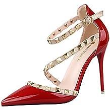 Minetom Verano Rotación Remache Mujer Estiletes De Moda Punta Estrecha Zapatos De Tacón Altos Pumps Stiletto Elegante Fiesta Hebilla Cerrado Sandalias