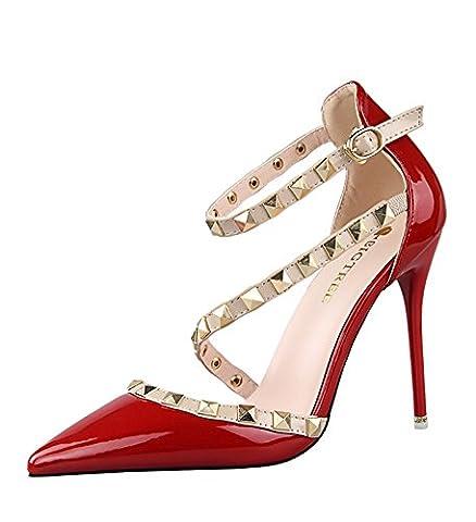 Minetom Fête Été Talons Hauts Femme Escarpins Pointed Toe Casual Filles Boucle Chaussures Rivet Rotation Stiletto Pumps High Heels Rouge EU 37