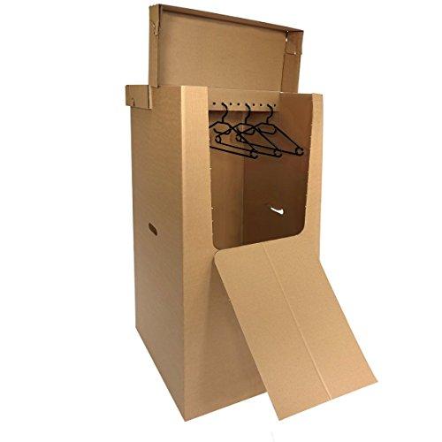 1 Kleiderkarton 560x510x1240 mm (Innenmaß), Praktische und geräumige Kleiderbox für den Umzug, Lagerung, Schrankersatz oder Transport Ihrer Kleidung, Anzüge, Kleider oder Hemden hängend und faltenfrei thumbnail