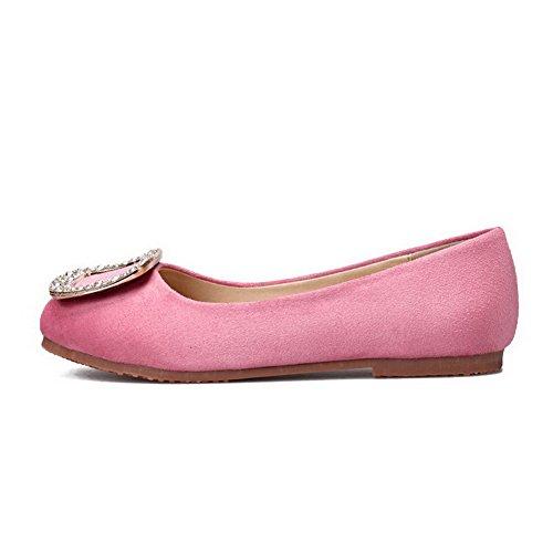 AalarDom Femme Non Talon Couleur Unie Suédé Dépolissement Tire Rond Chaussures à Plat Rose