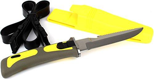 Tauchermesser mit Scheide und Beinbefestigung Gelb 23 cm