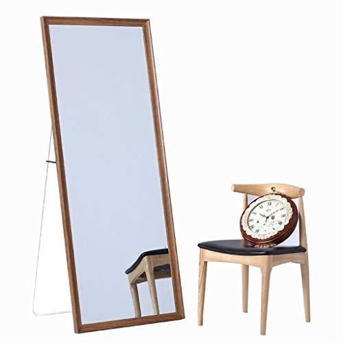 Massivholz Ganzkörperspiegel Startseite Wandspiegel Bekleidungsgeschäft Mit Halterung Passender Spiegel, Farbe Nussbaum Standspiegel 0611 (Size : 60 * 165cm) -
