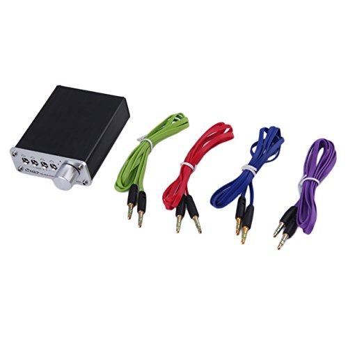 4 Eingang 4 Ausgang Kopfhörer Kopfhörer Headset 3,5 mm MP3 Audio Signal Schalter Switcher Digital Multi-Channel US Stecker Schwarz Großhandel