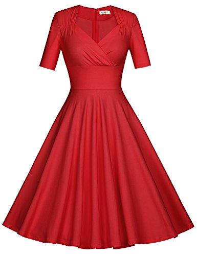 MUXXN Donna vintage anni'60 Scollo a V Cocktail Gonna da Sera a Manica Corta Red